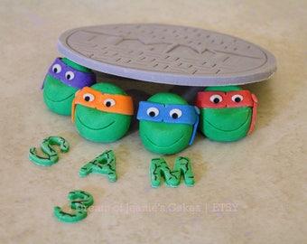 Teenage Mutant Ninja Turtle Fondant Cake Topper, Manhole, Sewer lid