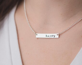 Bar Necklace - Personalized Custom Hand Stamped Sterling Silver