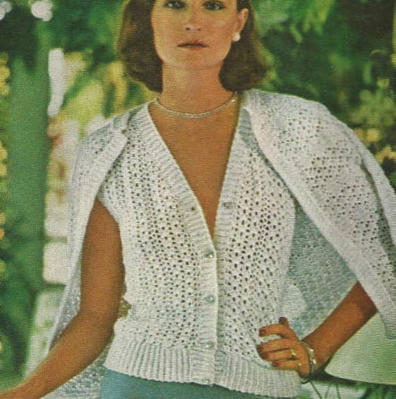 ba554f5dc Crochet Womans Sweaters pdf  OhhhMama  Lacy Twin Set with V-Neck and  Buttons and Over Sweater Vintage Pattern Jumper Instant Download Pdf
