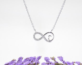 Heart & Infinity Necklace Cz 925 Silver Yellow Rose Gold