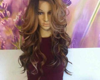 Side part Ombre Mixed Brown with Blonde highlights Lace Front wig 24'' heat resistant.
