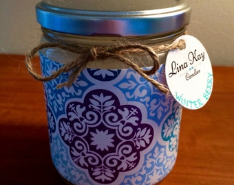 Winter Berry Candle - Natural Soy Candle - 13oz - turquoise multi-pattern paper