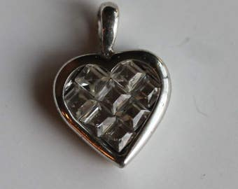 925 Sterling silver clear square cut cz cubic zerconia stones heart pendant