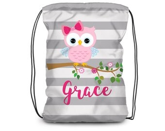 Owl Drawstring Backpack - Owl Cinch Sack Bag, Gray Stripe Bag, Kids Pink Owl Personalized Backpack, You Pick Owl - Kids Personalized Gift