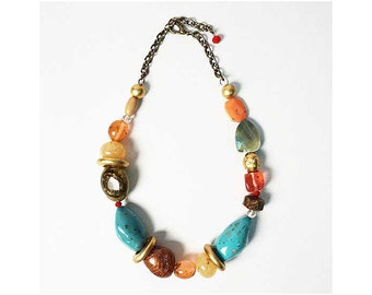 Handcrafted Multi Stone Chunky Turquoise Nugget Bold Statement Necklace