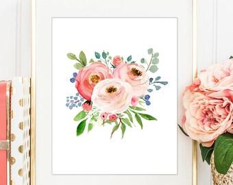 Floral Bouquet, Floral Watercolor Print, Pink Floral Print, Peach Roses, Pink Roses, Girls Nursery Art, Botanical Print, PRINTABLE WALL ART
