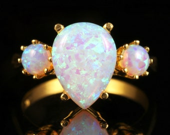Opal Trilogy Ring 18ct Gold On Silver 4.20ct Of Opals