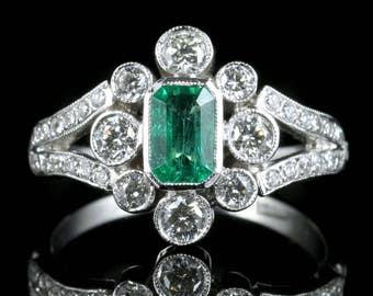 Emerald Diamond Deco Engagement Ring 18ct White Gold