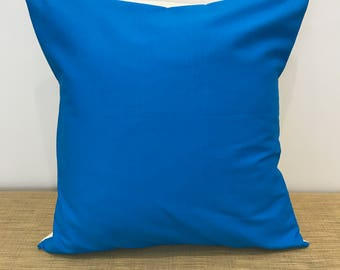 "Plain Sky Blue Fabric Accent cushion cover throw pillow. 18"" (45cm). Made Australia"