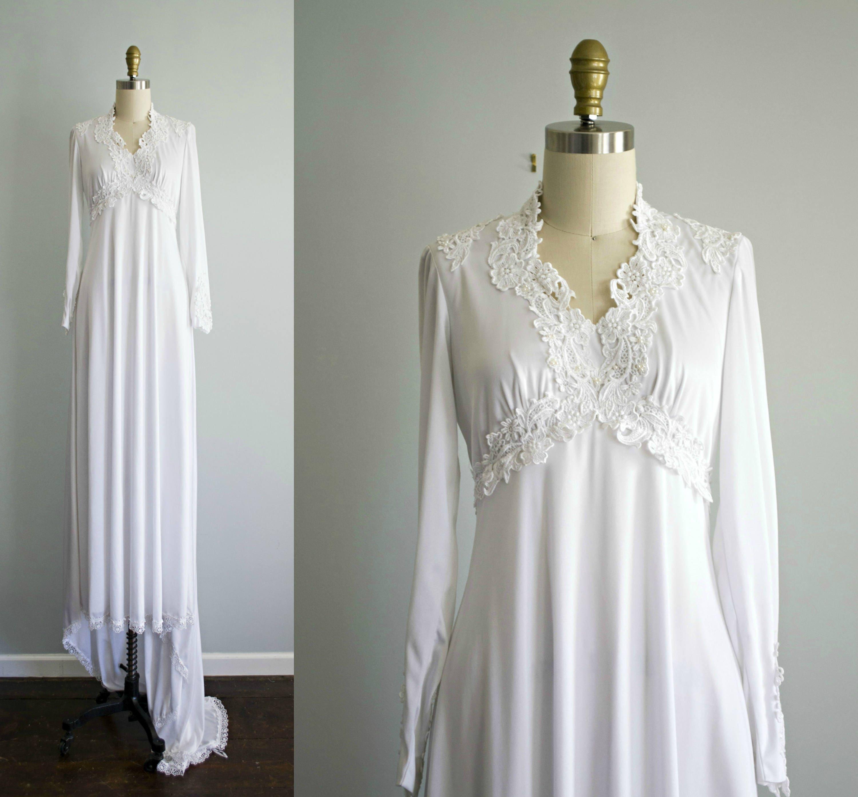 Vintage White Lace Bohemian Wedding Dress . 1970s Jersey