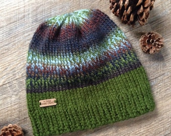 """Mens Woodland~Rustic Chunky Knit Beanie 