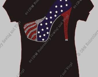 Read White and Blue Rhinestone High Heel Ladies T-Shirt, Personalized T-Shirt, Women's T-shirt,  Ladies Tee