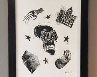 Linocut, Skull Linocut, Skull Print, Art Print, Minimal Print, Black and White Print
