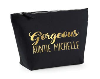 Custom Auntie Gift, Personalized Make Up Bag, Black Gold Cosmetic Bag, Gorgeous Aunty Aunt Gift, Make Up Case, Black and Gold, Toiletry Bag,
