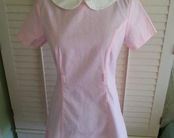 Vintage dress, vintage striped pink dress,1980's dress, vintage 1980's dress, cute dress, vintage cute dress A14