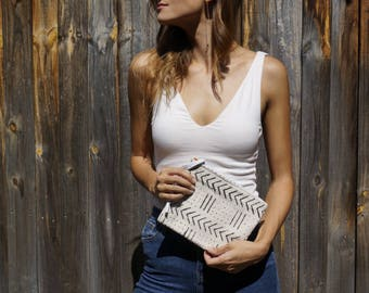 Handmade Bogolan (mudcloth) pouch - White