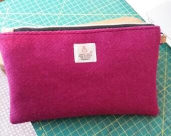 Hot pink harris tweed purse