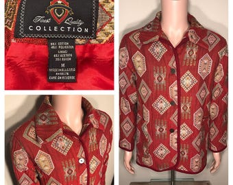 The limited collection // Vintage womens blazer jacket // aztec tribal western design // all over print // adult size medium // 80s 90s