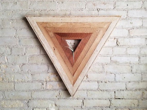 Reclaimed Wood Wall Art | Wood Decor | Reclaimed Wood | Wood Art | Rustic Geometric | Wood Decor | Handmade |  Triangle Gradient | Modern