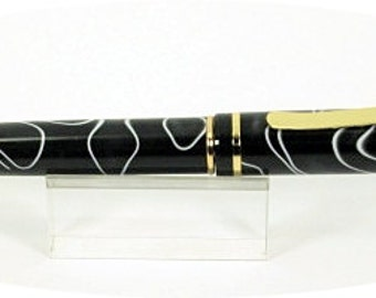 Handcrafted Pen turned with black with white lines acrylic