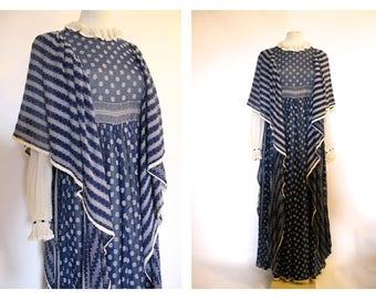 Amazing! GINA FRATINI 70'S blue hippie/folk/ peasant Maxi dress