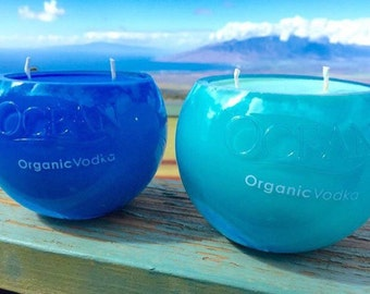 Sun & Sand Scented Soy Candle in Upcycled Ocean Vodka Bottle
