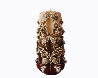 Carved candle-Brown cocoa carved candles Brown