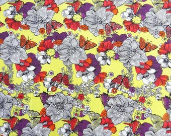 "Yellow Fabric, Multicolor Floral Print, Apparel Fabric, Designer Fabric, Indian Decor, 41"" Inch Cotton Fabric By The Yard ZBC7787A"