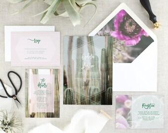 Desert Wedding Invitations Printed - Cactus Wedding Invitation Suite - Bohemian Wedding Invitation Set - Boho Wedding Invites - Set of 10