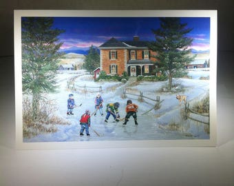 Skating - Friends on the Pond - Blank Seasonal Card