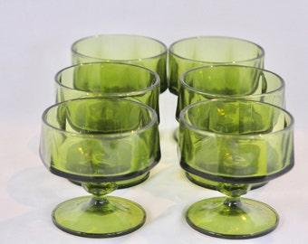 Beautiful Avocado Green Mid Century Sherbert Glasses, Set of 6