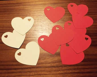 Heart wedding Tags, heart name tags, Wedding, Babyshower, Bachelorette, Labels