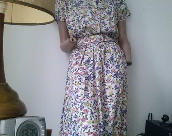 90's floral cap sleeved blousy belted maxi dress size 10