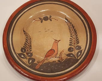Mexican Folk Art Burnished Tonala Plate of bird