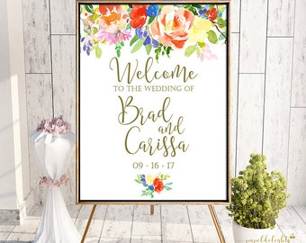 Wedding Welcome Sign Citrus Summer Spring Floral | Customized Digital Printable 8x10, 16x20, 20x24