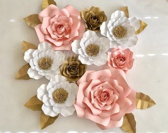 Paper flowers - large paper flowers - set of 9 paper flowers - home decor - nursery