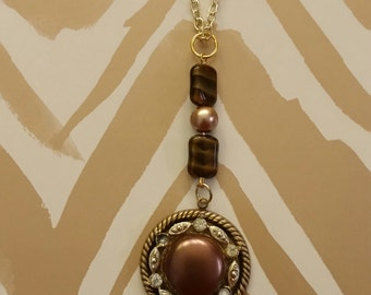 Upcycled Vintage Necklace, Brown Earring Necklace, Vintage Earring Necklace, Unique Necklace, Altered Jewelry, Repurposed Necklace, OOAK