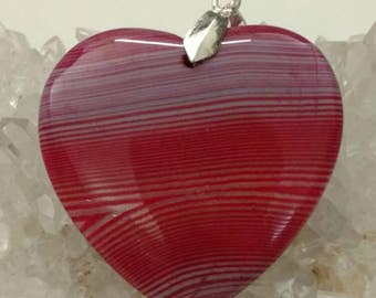 Pink Onyx Heart Pendant Necklace
