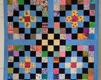 Modern Baby Quilt, Baby Boy or Girl Quilt, Blue Quilt, Rainbow quilt, Patchwork Quilt, Baby Shower gift, Baby Bedding, Crib Quilt