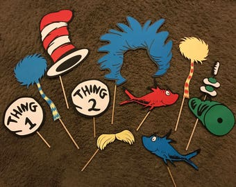 Ten custom Dr. Seuss inspired photo booth props