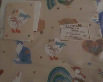 Vintage Folk Art wrapping paper NIP by Current dated 1985 Rooster Bunny Sheep Cat Bunny Goose beige tan blue green