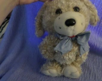 How Much is that Doggy in the window plush musical pull toy Kids II vintage tan brown dog blue ribbon tie red tongue sweet