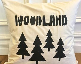 Ready to ship, Farmhouse woodland reversible pillow cover, nursery pillow, nursery decor