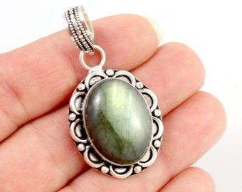 Labradorite and Sterling Silver Pendant. Green Labradorite Pendant. Sterling Pendant. Oval Pendant. Green Stone Pendant. 45mm x 24mm