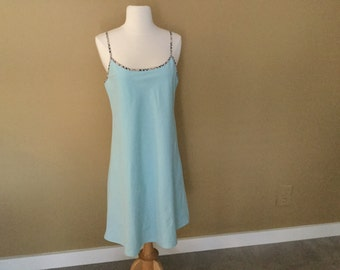 90s BURBERRY SLIP DRESS Light Blue Plaid Trim Straps London Label Size M