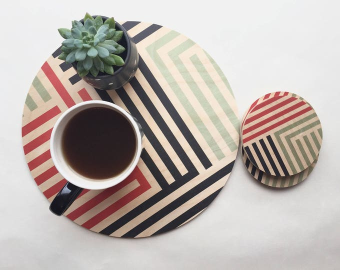LINES wood trivet / giant coaster