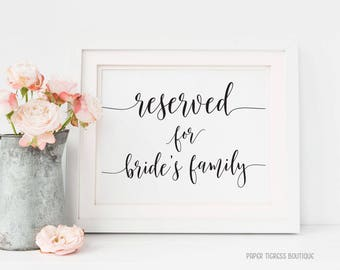 Reserved Signs for Brides Family, Wedding Reserved Sign, Reserved wedding sign, Printable Wedding Reserved Sign, Rustic Reserved Sign