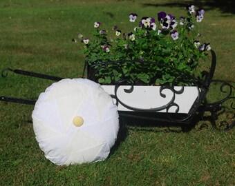 Circle White/Cream Patchwork Cushion