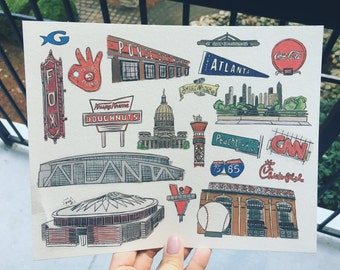 8x10 Atlanta Landmarks Print