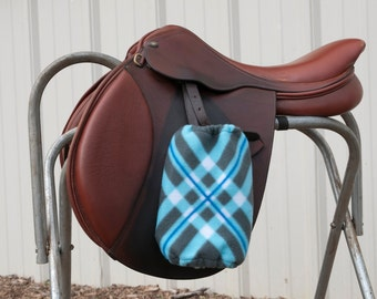 Custom Stirrup Covers - Grey, Blue And White Stirrup Covers
